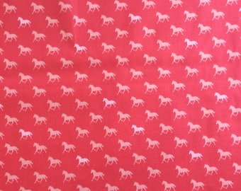Derby Horses in Pink - Moda cotton fabric - half yard or more
