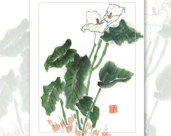 Watercolor Chinese Brush Painting Cards -  Calalily