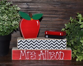 Unique Teacher Gift Personalized Teacher Name Plate Apple Decor Teacher Block Set Librarian Gift Set End of Year Teacher Gift Back to School