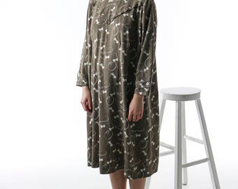 Long Sleeve Shift Dress / Oversized Pattern Dress / Retro Comfy And Soft Dress