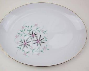 """Vintage Contour China Startime Platter 12"""" Oval Serving Platter Pink Grey Floral Serving Platter Gold Verge #300"""