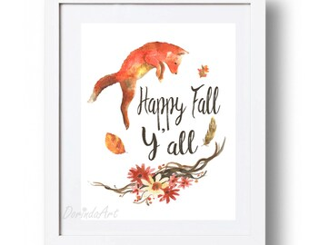 Fall printable decor Large Autumn wall art print Orange Fox print Happy Fall Y'all printable Watercolor art 5x7 8x10 11x14 16x20 DOWNLOAD