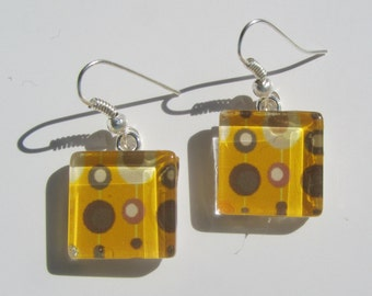 Gold and Brown Retro Print Earrings, Glass Dangle Earrings, Mid Century Print Earrings, Summer Earrings