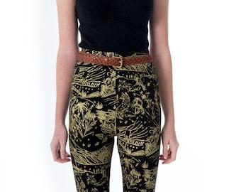 Floral Leggings - Hand Printed - Organic Cotton Leggings - High Waisted Leggings - Slow Fashion - Eco Fashion - Thief and Bandit®