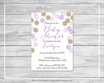 Purple and Gold Baby Shower Invitation - Printable Baby Shower Invitation - Purple Gold Glitter Baby Shower - Baby Shower Invitation - SP109