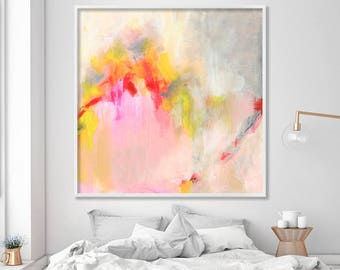 """Abstract PRINT of acrylic painting """"Hooponopono 01"""", delicate Abstract Art, giclee print large wall art pink grey yellow"""