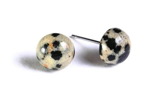 Dalmatian Jasper gemstone hypoallergenic stud post earrings (744)