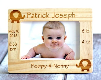 Personalized Newborn Baby Picture Frame, Gift for Parents, Godparents gift, new parents gift, baby frame, Mother's Day Frame