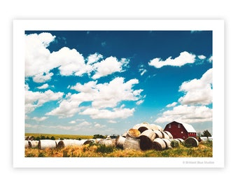 Red Barn | Bales of Hay | Modern Farmhouse Decor | Farm Scene | Vintage-Look Photograph | Colorful Art Print | Blue Sky with Clouds