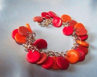 orange and Red drops fimo bracelet