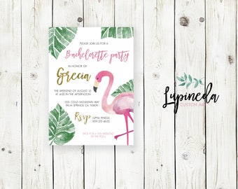 Tropical invite, Tropical bachelorette invitation, flamingo invitation, bachelorette party invitation