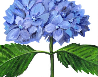 Light Blue Hydrangea / Original Oil Painting by Kelly Korver / 10 in x 10 in x 3/4 in / Square Painting / Still Life / Ready to Ship
