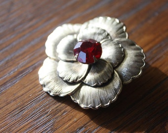 Vintage Gold and Red Rhinestone Brooch