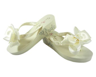 Satin Double Bow Bride Lettering Flip Flops - Choose your  colors on ivory or white wedge heel wedding shoes