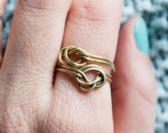 Double knot brass ring, knot ring, minimalist, stacking ring, handmade