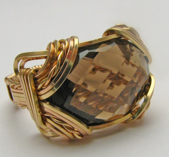 Rose gold ring  Handmade Victorian Solid 14kt Gold Filled Yellow/Rose Wire Wrap Smokey Quartz Brown Gemstone Personalized  Ring