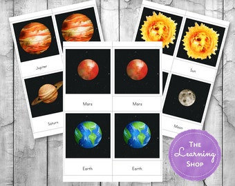 Montessori Inspired Solar System 3 Part Cards and Information Cards