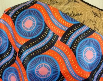 African Wax Print Fabric--Ankara Print Fabric--Genuine Vlisco Voila for You--Orange & Periwinkle Wheels--African Fabric by the HALF YARD
