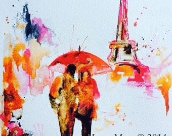 Romantic Paris in Bloom Art Print, Watercolor Romantic Illustration by Lana Moes, Travel Paris Poster, Red Umbrella Watercolor, Rose Gold