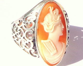Size Adjustable, Vintage Cameo, New Sterling Silver Ring, Italian Hand Carved Cameo, Carved Conch Shell Cameo, Filigree Setting, OOAK