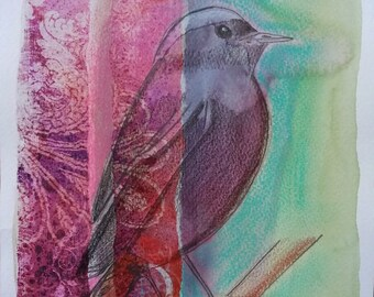 """Mixed Media watercolor Image """"My soul is free as a bird"""""""