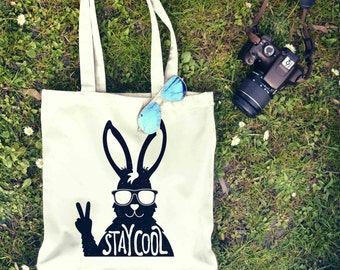 Stay Cool Rabbit Typography Tote Bag | Shopping Bag | Reusable Market Bag | Birthday Gift For Her & Him | Shopper Bag | Beach Grocery Bag