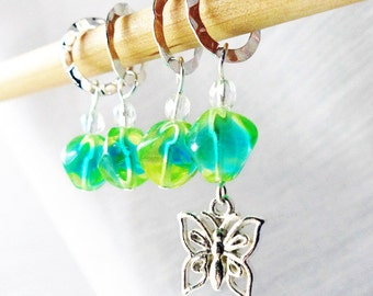 SALE - Happiness Is A Butterfly - Four Handmade Stitch Markers - Fits Up To 8.0mm (11 US) - Last Sets