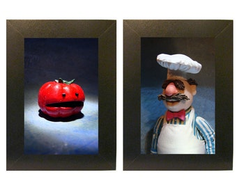 "11 x 14"" Muppets Framed Photo Set Swedish Chef and Tomato Toys"