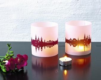 Light Covers BERN Luminaries Skyline Lantern, 2 Tablelight in fume and plum, for Bern Lovers, Honeymoon in Bern, romantic candlelight dinner