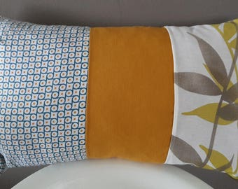 Cushion cover 50 x 30 cm. geometric blue and mustard yellow