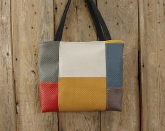 Multi color Vinyl upholstery samples upcycled tote