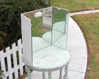 Vintage Vanity Mirror - Three Way Mirror - Shabby Vanity Mirror - Three Sided Mirror - Pick Up or Delivery ONLY