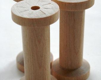 Large Wooden Spools - set of 6 - Natural Wood Thread Spools
