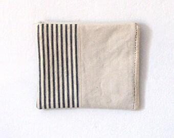 Bag Clutch Vintage Stripe Ticking Canvas Zipper Bag Cosmetic Bag  Sashiko Stitching Hand Stitching Nautical French Country Rustic