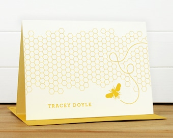 HONEY Personalized Stationery Set - Personalized Stationary Set - Custom Personalized Notecard Set - Bee Honeycomb Yellow