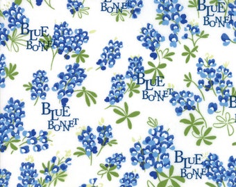 BLUEBONNET PATCH Texas Wildflowers on ivory Moda fabric  by the yard quilt cotton  bluebonnets WORDS 33311-11