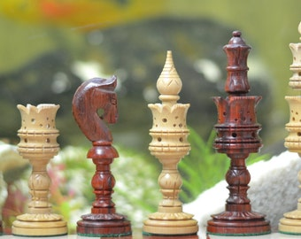 """The Lotus Series Red Sandal Wood Chess Pieces in Bud Rose & Box Wood - 4.7"""" King SKU: M0038"""