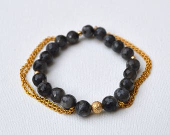 Larvikite Labradorite Gemstone Tassel Chain Stretch Bracelet // Gold Filled // Stainless Steel Chain // Elastic Bracelets Beach Boho Stacked