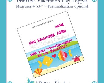 O-Fish-ally Be My Valentine - Valentine's Day Treat Bag Topper