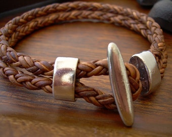 Leather Bracelet Mens Leather Bracelet Womens Leather Bracelet Braided Leather Bracelet with T Clasp Fathers Day Gift Mens  Leather Jewelry