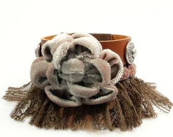 Leather bracelet big flower in brown beige -  bohemian wide cuff western style with fringe - handmade woman jewelry SALE jewelry