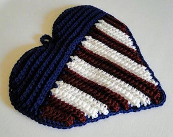 Patriotic Heart Potholder Crochet Pattern - Flag Potholder Crochet Pattern - Flag Pot Holder Crochet Pattern - Instant Download PDF