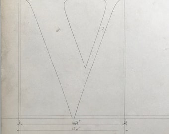 Letter V, 1932 original font casting drawing, typographic drawing, type design. Collectable typography.