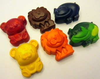 Set of 6 Colorful Zoo Animal Crayons