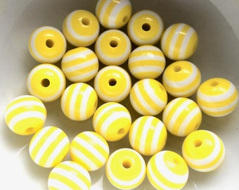Yellow and white candy stripe beads, Kitsch beads, Yellow beads, Acrylic beads, Striped beads, UK beads, Jewellery making, UK seller