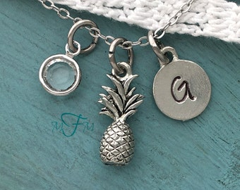 Pineapple Charm Necklace, Personalized Necklace, Silver Pewter Pineapple Charm, Custom Necklace, Swarovski Crystal birthstone