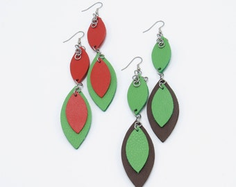 Leather Petal Earrings (Large)