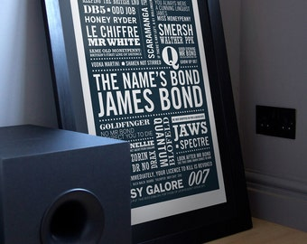 James Bond Print, James Bond Art, James Bond Poster, Typographic Print, 007 Print, The Name's... in Midnight Blue. Gift for Men