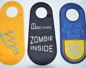 Custom Door Hangers. Design your own. Monogram, Name Door Knob Hangers. Home Decor. Machine Embroidery.