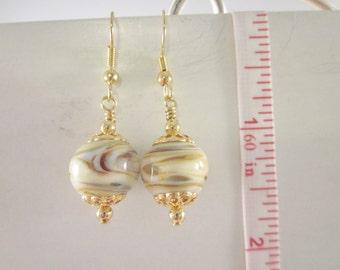 """A """"Vanilla Latte""""  - Artisan Lampwork Glass Earrings, Unique, One of a Kind, SRAJD, OOAK"""